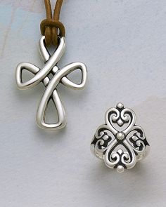 Woven Cross on Leather Necklace & Adorned Hearts Ring from James Avery Jewelry #jamesavery