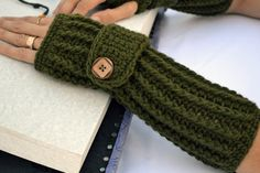 Army green ribbed with wrist strap crochet button by ValkinThreads, $20.00