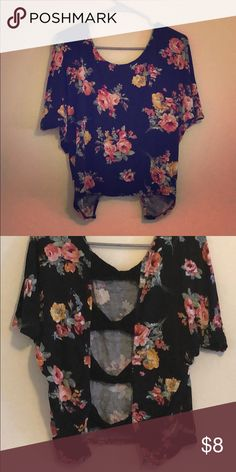 best cheap 583a8 3e138 Floral cotton T-shirt with an open back Perfect for going out the open back