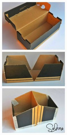 diy storage boxes cardboard Scrapy Land: Altered Shoe Box for Cards Cardboard Box Storage, Cardboard Organizer, Cardboard Box Crafts, Shoebox Crafts, Diy With Cardboard Boxes, Cardboard Playhouse, Cardboard Toys, Shoe Box Organizer, Shoe Box Storage