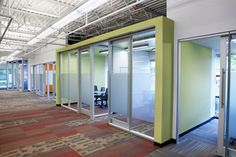 Glass doors with frosted glass - nice mix of light and privacy Private Room, Fun At Work, Commercial Interiors, Office Interiors, Magazine Design, Color Inspiration, Architecture Design, Frosted Glass, Conference
