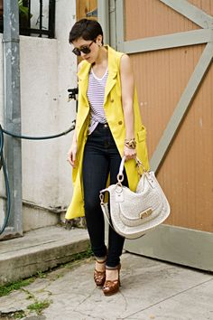 Sleeveless trench dress, in a fun color #fashion