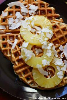 Vegan healthy waffles made in waffle maker with tea, honey