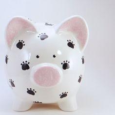 Paw Prints hucha - alcancía personalizada - cachorro impresiones - hucha de cerámica - mascota Piggy Banco - con agujero o sin agujero en la parte inferior por ThePigPen