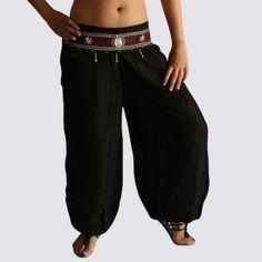 Black Oriental Decorated Harem Pants - Yoga Pants - Model P46 - Oriental Fashion #http://www.pinterest.com/OGfashion/