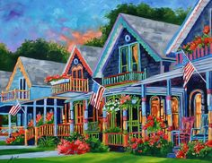 Rebecca Beal Title: MARTHA'S VINEYARD SIZE: 28x36 Colorful Rendition of the wonderful Gingerbread Houses at Martha's Vineyard.