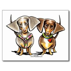 Dashing Dappled Dachshunds Postcard   Click on photo to purchase. Check out all current coupon offers and save! http://www.zazzle.com/coupons?rf=238785193994622463&tc=pin