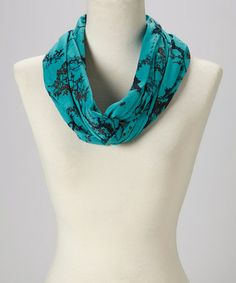 Another great find on #zulily! Teal & Black Floral Infinity Scarf #zulilyfinds