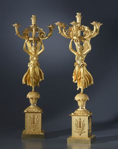 Pierre-Philippe Thomire A pair of Empire six-light candelabra by Pierre-Philippe Thomire, after a design by Charles Percier, Paris, date circa 1810 Gilt bronze Height 101 cm each. Floor Lanterns, Empire Furniture, Candle Chandelier, Bronze, French Empire, Classic Architecture, Empire Style, Oil Lamps, Chinoiserie