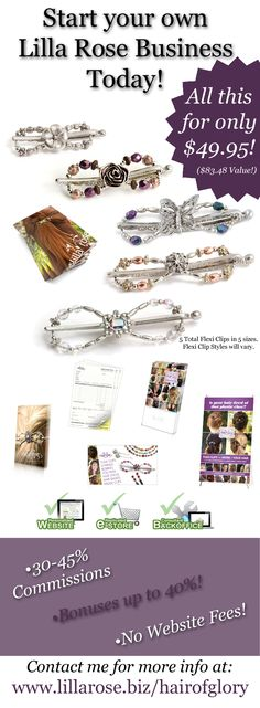 Lilla Rose is a young and growing company. NOW is the time! Almost all the ladies I talk to have never heard of Lilla Rose or the Flexi Clip!  Our party kit comes with these items! Only $49.95 plus tax and shipping! Ask me about the FAST START add on to help jump start your business! Be in business for yourself, but not by yourself! Great support system in place. Full of ladies that encourage and help each other! http://www.lillarose.biz/H-ArtbyLJ/opportunity.html