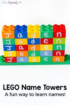 LEGO name stacking. Fun, hands-on way for preschoolers to learn their name!
