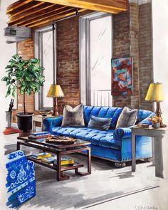 Living Room. Interior Design Sketches a Source of Inspiration. By Matveeva Anna.
