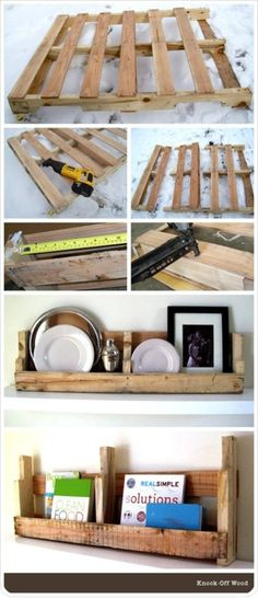 Pallet Shelves - I'd probably paint the palets before hanging Pallet Crafts, Pallet Ideas, Pallet Projects, Diy Pallet, Pallet Wood, Pallet Jack, Pallet Couch, Barn Wood, Rustic Wood