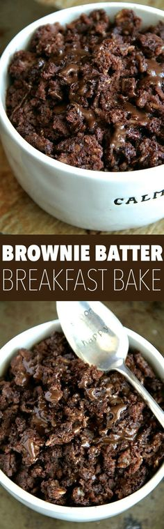 Brownie Batter Breakfast Bake. Enjoy the rich chocolatey taste of brownies in a bowl that's healthy enough to eat for breakfast, even though it tastes like it should be on your list of desserts! Click here for the recipe.
