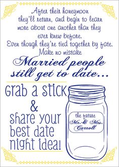 Date Night Jar Sign for Wedding or Shower by 4EverNAlways on Etsy