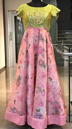 Beautiful blush pink and olive green color combination floor length dress with floret lata design hand embroidery work on yoke. Long Gown Dress, Long Frock, Long Gowns, Dress Skirt, Long Dresses, Anarkali Dress, Lehenga Choli, Sarees, Traditional Dresses Designs
