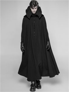 Victorian Gothic style black men's floor-length cloak with Medici style high velvet collar Vampire Fashion, Gothic Fashion, Dracula, Rave Outfits, Fashion Outfits, Mens Cape, Ghost Light, Boudoir, Punk Rave