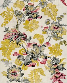 Design for woven silk, by Anna Maria Garthwaite. London, En (c)Victoria and Albert Museum, London Textile Patterns, Textile Prints, Flower Patterns, Print Patterns, Anna Maria Garthwaite, Pattern Design, Print Design, 18th Century Costume, Floral Printables