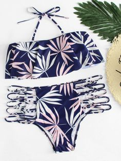 0023702e0e Shop Leaf Print Flounce Halter Top With Ladder Cutout Bikini online. SHEIN  offers Leaf Print Flounce Halter Top With Ladder Cutout Bikini & more to  fit your ...