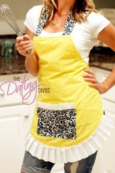 Flirty Apron Tutorial The Dating Divas Nice tutorial, but probably not for a first time sewer. There are a few little details left out (like folding over edges so you have a finished seam, which ways to line up fabrics, etc. Sewing Hacks, Sewing Tutorials, Sewing Projects, Sewing Patterns, Apron Patterns, Apron Pattern Free, Sewing Diy, Sewing Ideas, Basic Sewing