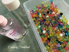 Rainbow Water Beads Sensory Bottle • Capturing Parenthood