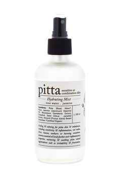 Rasasara Skinfood: Ayurvedic Skincare Pitta Hydrating Mist / package design, typography, black and white, minimalist