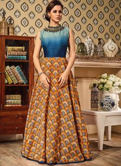 5ae9a4c745d85 Blue and Yellow Silk Floor Length Anarkali Suit with Embroidery Work