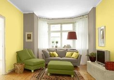 Farbgestaltung Für Ein Wohnzimmer In Den Wandfarben:  Gelb/Cool04.009.03/Bamboo