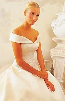Off the shoulder wedding dress. Very elegant/classic.