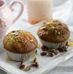 Baklava Muffins with Olive Oil, Greek Yogurt and Honey