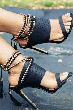 Gorgeous Black Tassle Sandals by Tavia P Shoes