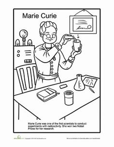 Women's History Month First Grade History People Worksheets: Marie Curie Coloring Page