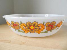 Floral Orange Retro Vintage Schott Mainz Casserole JENAer GLAS 70/'s Germam Pyrex Kitchenware