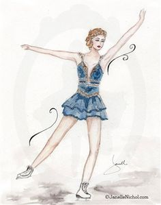 A Royal Blue costume with gold embellishments make this figure skater stand out. This watercolor image is part of the WC Collection from Ja. Watercolor Images, Watercolor Paintings, Blue Costumes, Figure Skating, Royal Blue, Dancer, Art Prints