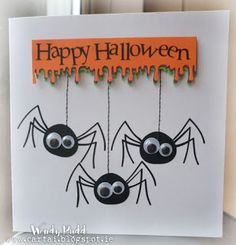 60 Free Happy Halloween Card Ideas That Your Relatives .- 60 Free Happy Halloween Card Ideas That Can Scare Your Relatives … – Handmade Halloween Cards – - Feliz Halloween, Fröhliches Halloween, Adornos Halloween, Homemade Halloween, Halloween Wishes, Halloween Designs, Thanksgiving Cards, Holiday Cards, Tarjetas Diy