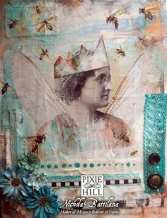 The Queen Bee - mixed media collage and painting - Nichola Battilana