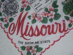 Vintage Missouri Hanky  Handkerchief Hankie by HankyLady on Etsy, $25.00