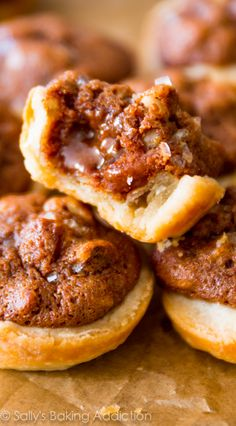 Salted Pecan Pie Tarts - Warm, gooey, sweet, from scratch, and perfectly portioned. Simply the best little dessert.