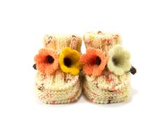 Hand Knitted Baby Booties with Crochet Bell by SasasHandcrafts