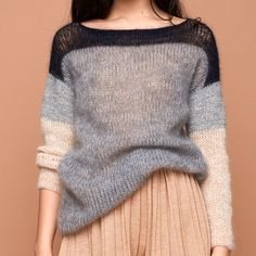 Pullover Strukturmix – grau, creme, nachtblau – Awesome Knitting Ideas and Newest Knitting Models Crochet Pullover Pattern, Knit Crochet, Knitting Yarn, Hand Knitting, Knitting Sweaters, Pull Mohair, Handgestrickte Pullover, Mohair Sweater, Knitting Designs