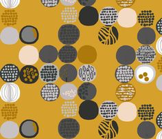 afro circles mustard fabric by katarina on Spoonflower - custom fabric  - use as a wallpaper to cover top of tv credenza