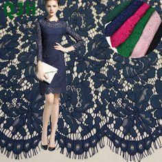 Qjh бренда 1.5*1.5 м ресниц Вышивка Кружево Ткань s хлопок шнура французский Кружево Ткань гипюр Нигерия Африканский Кружево для Свадебное платье