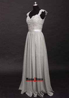 129.00$  Buy now - http://vinyg.justgood.pw/vig/item.php?t=bl295ir56968 - Cap sleeve lace chiffon silver party formal prom dress bridesmaid evening gown
