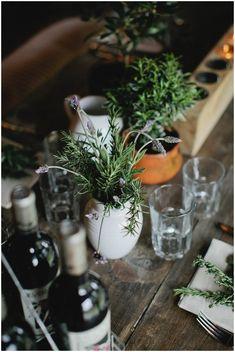 Rustic herb wedding decor | Image Kristyn Hogan Photography, styling Cedarwood Weddings