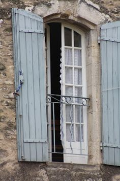 Pale blue, shutters against a light stone wall. Very French country. - love these colours for exterior Old Doors, Windows And Doors, Blue Shutters, Exterior Shutters, Wood Shutters, French Countryside, French Blue, French Farmhouse, Architecture Details