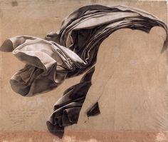 Anne-Louis Girodet de Roussy-Trioson, Drapery study for a deluge, 1806. White chalk on paper. Ville de Nantes, Musée des Beaux-Arts