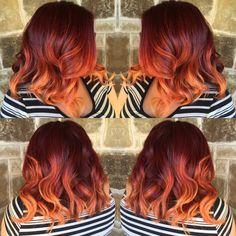 blood orange ombre copper hair