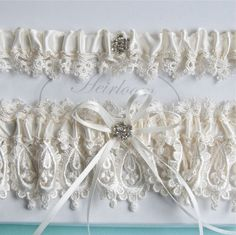 Wedding Garter Set Weddings Garter in Ivory Heirloom Venice Wedding Lace on Etsy, $39.50 @Jerry Minor-Gordon @Ashley Kincade: 4 of 5