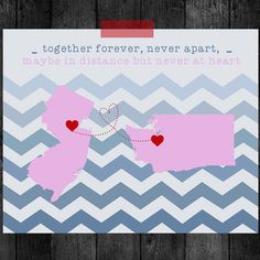 Long Distance Friendship or Love Personalized Map Gift-8 x 10 in