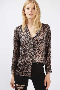 Satin Animal Print Pyjama Shirt